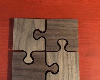 Black Walnut Puzzle Coaster - set of four (FREE SHIPPING)