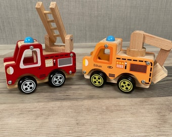 Personalised Fire Engine or Pick up Truck - Digger Car - Construction Toy - Wooden Toys - Page Boy Gift - Birthday Gift - Toy Cars