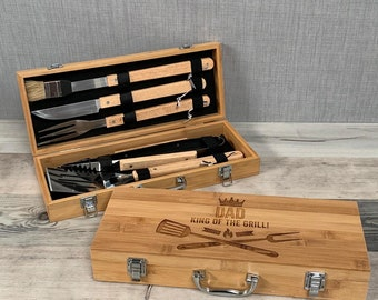 Personalised Wooden Barbecue Set - Engraved Barbecue Tools - Grill Tools - Fathers Day Gift - Gift for Him