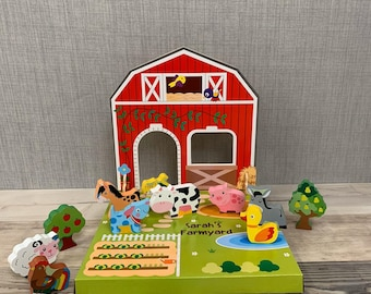 Personalised Wooden Farmyard Playset - Personalised Toys - Christmas Gifts