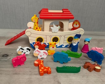 Personalised Noah's Ark Playset - Wooden Toys - Birthday Gift - Christmas Toy - Christening Gift