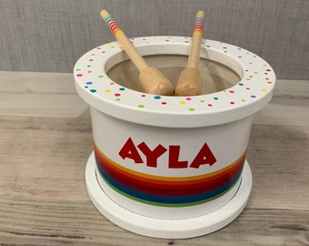 Personalised Drum Toy - Musical Toy - Children's Instruments - Birthday Gift - Easter Gift - Page Boy