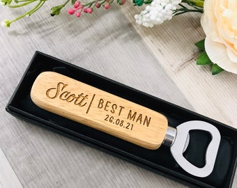 Personalised Engraved Wooden Bottle Opener with Box Included - Wedding Gift - Groom - Best Man - Groomsman Gift  - Wedding Favours ND