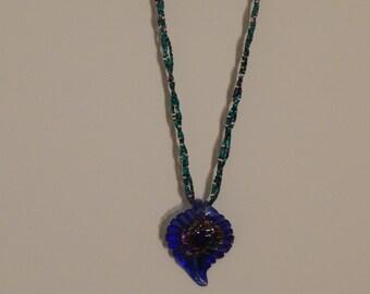 Blue leaf pendant necklace