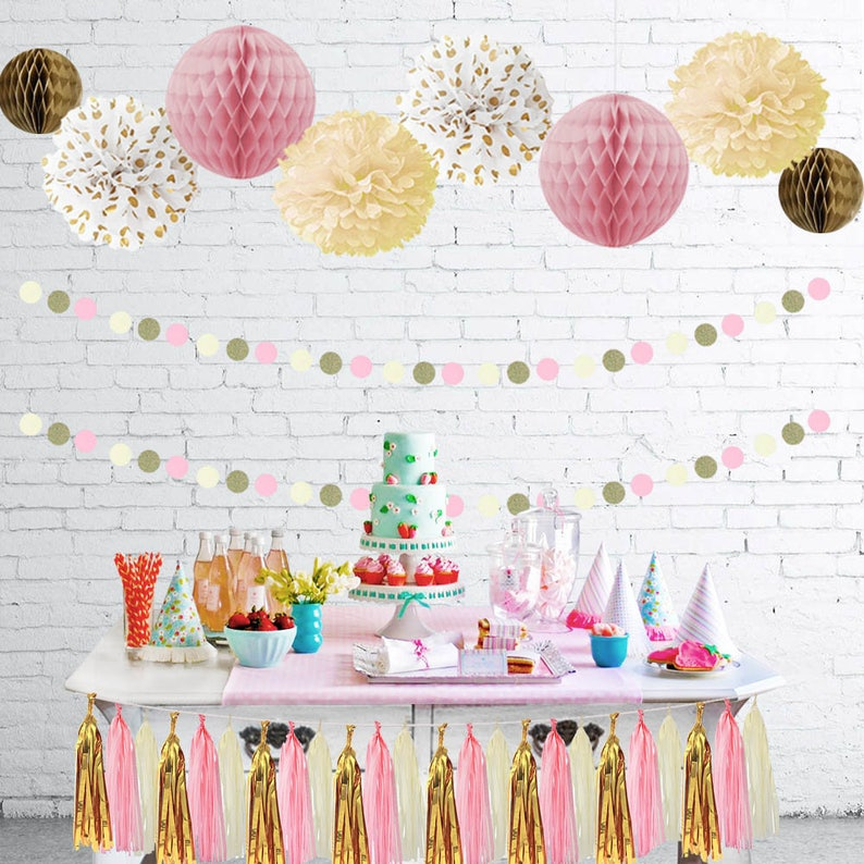 Pink Cream Glitter Gold Baby Shower Party Birthday Decorations