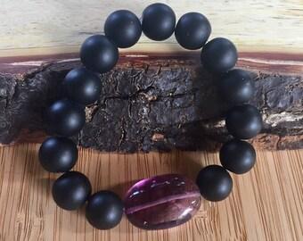 Onyx and Fluorite Chakra Balancing Bracelet