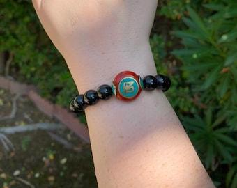 Onyx and Red Tibetan Bead Bracelet