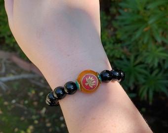 Onyx & Tibetan Bead Bracelet