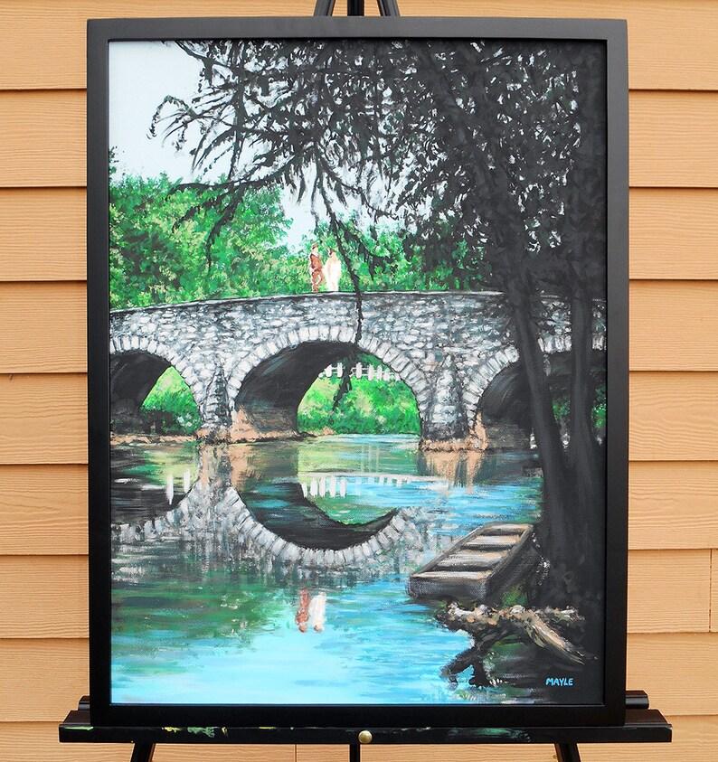 Original Painting Bridge Couple