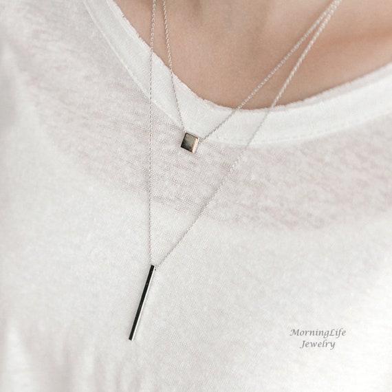 Vertical Silver Bar Necklace Long Rectangle Pendant Silver Pendant Long Necklace