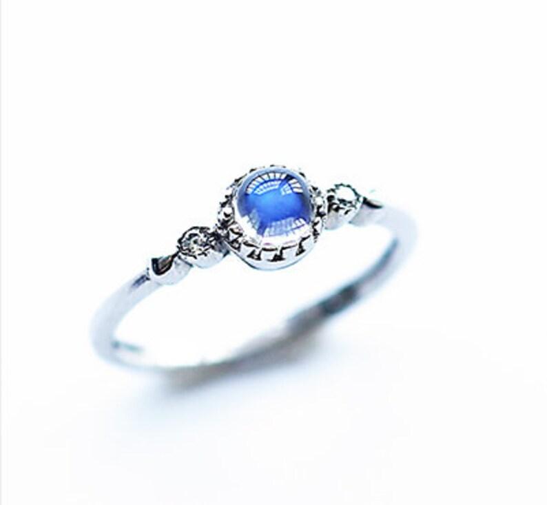 Moonstone Sterling Silver Ring Gemstone Ring Round Ring Blue Sheen Moonstone Moonstone Jewelry Blue Moonstone Ring Minimalist Ring