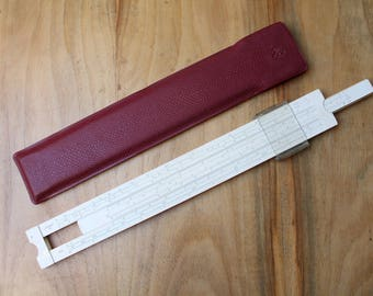 logarithmic scale.Vintage Slide Rule with Case.Mathematics Engineering Science.Slide Rule.Calculating Rule.Ruler parallel lines.Sketching