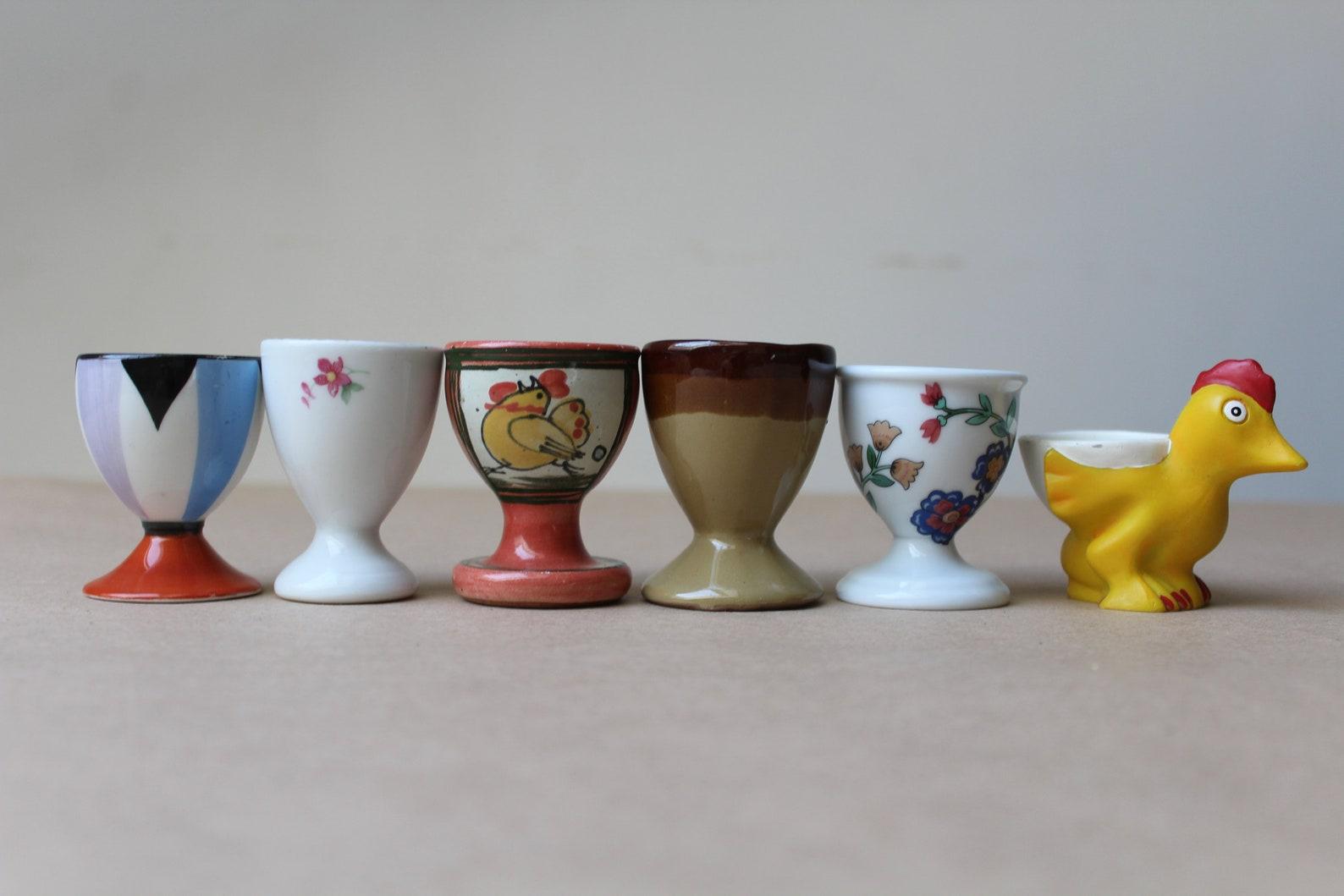 Set of 6 Egg Cups, 1970 Vintage GDR France East German pottery