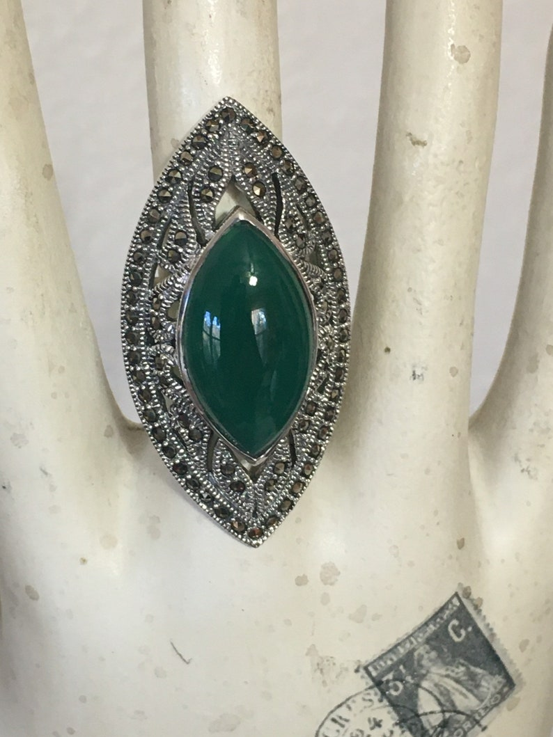 Green Agate and Marcasite ring