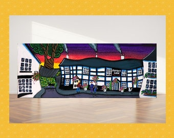 Llanidloes panoramic canvas, painting on canvas, large Welsh canvas