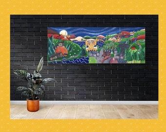 Elan Valley painting, panoramic canvas print, Wall art Wales, A.K.Skipsey