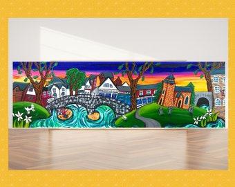 Panoramic wall art, panoramic canvas, Llanidloes painting, A.K.Skipsey