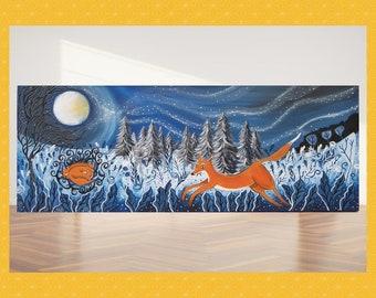 Fox painting canvas, fox canvas print, large canvas art work