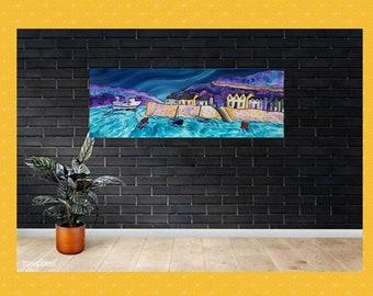 Panoramic canvas, Fishguard painting, large wall art