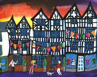 Ludlow art print, streets of Wales, colourful painting