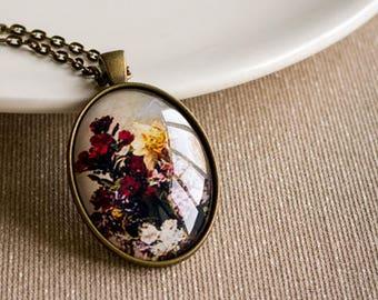 Flower pendant, Glass pendant, Multicolor necklace, Bronze pendant, Picture pendant, Vintage pentant, Antique pendant, Victorian pendant