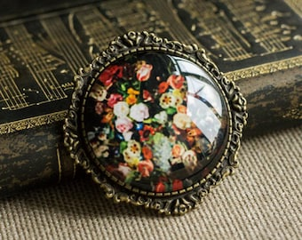 Flowers glass pin - Victorian pin - Antique brooch - Round brooch - Vintage brooch - Bronze brooch - Victorian jewelry