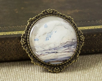 Blue brooch - Landscape jewelry - Victorian brooch - Glass brooch - Round brooch - Antique brooch - Bronze brooch - Victorian jewelry