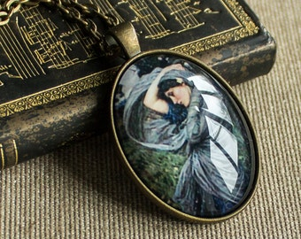 Blue necklace - Picture necklace - Painting necklace - Romantic necklace - Gift for friend - Oval necklace - Vintage necklace