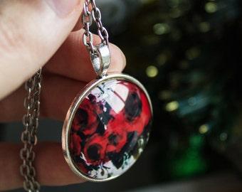 red pendant, poppy necklace, flower pendant, poppy jewelry, glass pendant, picture pendant, art pendant, art gift, silver pendant