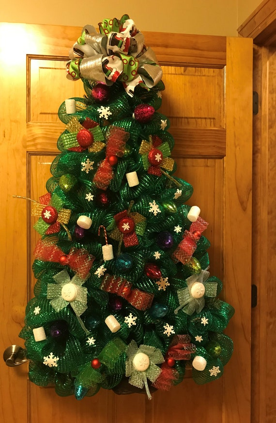 Christmas Tree With Mesh.Christmas Deco Mesh Wreath Christmas Tree Wreath Winter Wreath Mesh Christmas Wreath Christmas Decor Winter Decor Christmas Gift