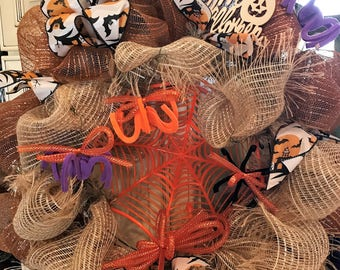 Halloween Spiders and Burlap Deco Mesh Wreath