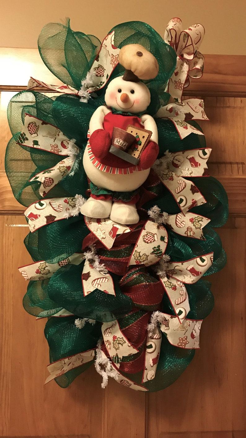 Deco Mesh Wreath Swag Wreath snowman deco mesh Christmas wreath Milk /& Cookies Christmas Wreath Snowman Wreath baking cookies