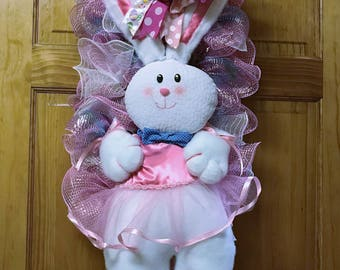 Ballerina Easter Bunny with tutu, Deco Mesh Wreath, Easter wreath, bunny wreath, spring wreath, wreaths for the front door