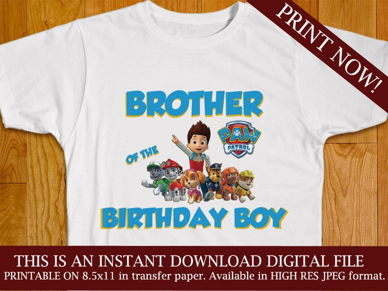 Iron On Paw Patrol Brother Of The Birthday Boy Shirt