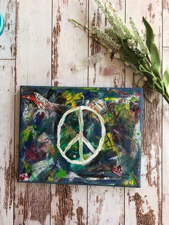 Peace Sign Painting Abstract Art Peace Love Happiness Oil On Canvas Palette Knife Painting Denham Canvas Colorful Painting Psychedelic