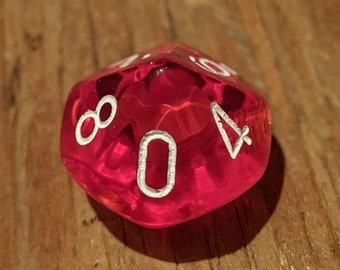 d10 Knob Translucent Cherry with White Numbers