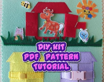 Felt quiet book DIY sewing kit; PDF pattern; tutorial; make your own quiet book; busy book; toddler toy