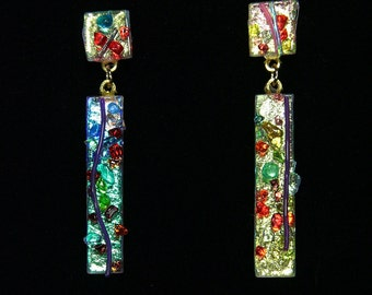 Over the Rainbow.A .02 oz burst of color- Pink/Blue tone Dichroic glass earrings with tiny glass jewels, stringers of many colors.