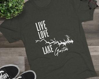 Lake Gaston Live Love Lake Men's Tri-Blend Crew Tee