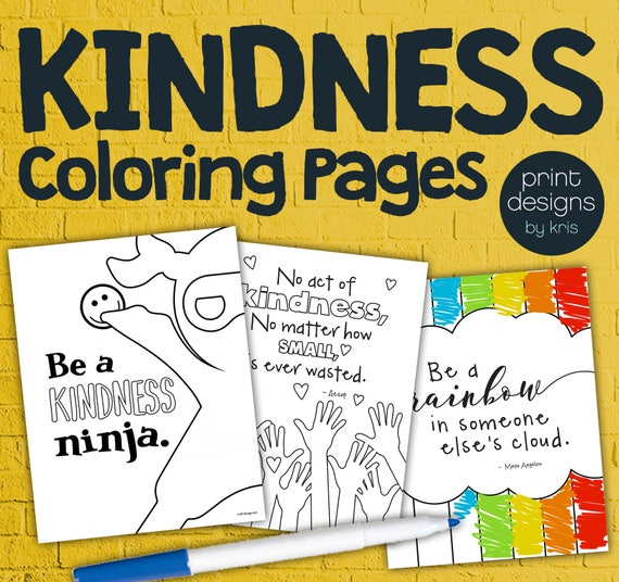 Kindness Coloring Pages Teaching Kindness Coloring Pages Etsy