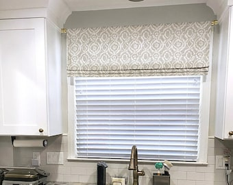 Fully Lined Ready to Hang Faux Roman Shade Valance in Ivory White Cotton Linen Fabric Custom Made Cotton Slub Kitchen Valance