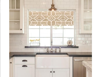Ordinaire Straight Modern Valance In Metallic Gold And Ivory Print, Custom Size,  Fully Lined, Machine Washable, Kitchen Valance, Quick Ship