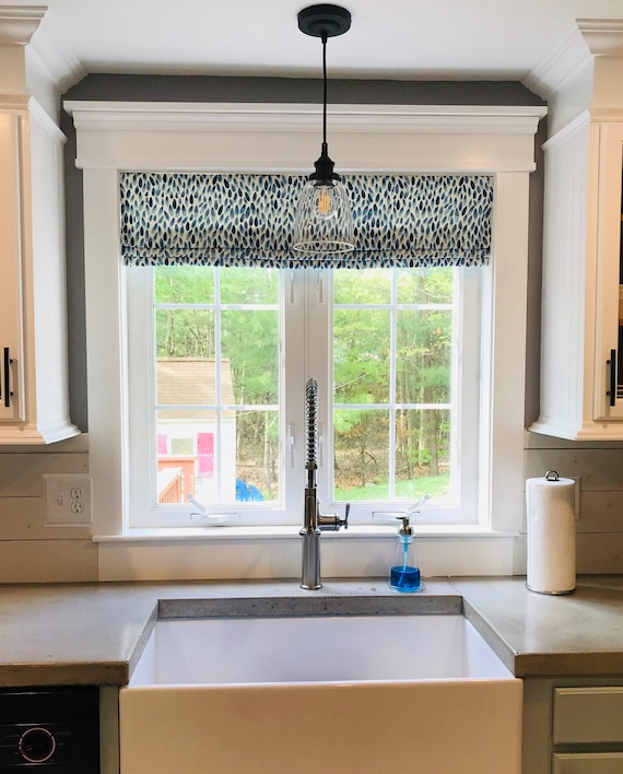 Faux Roman Shades and Valances in Lotus Italian Denim Print, Fully Lined,  Custom Made Blue and White Modern Kitchen Valance, Ready to Hang