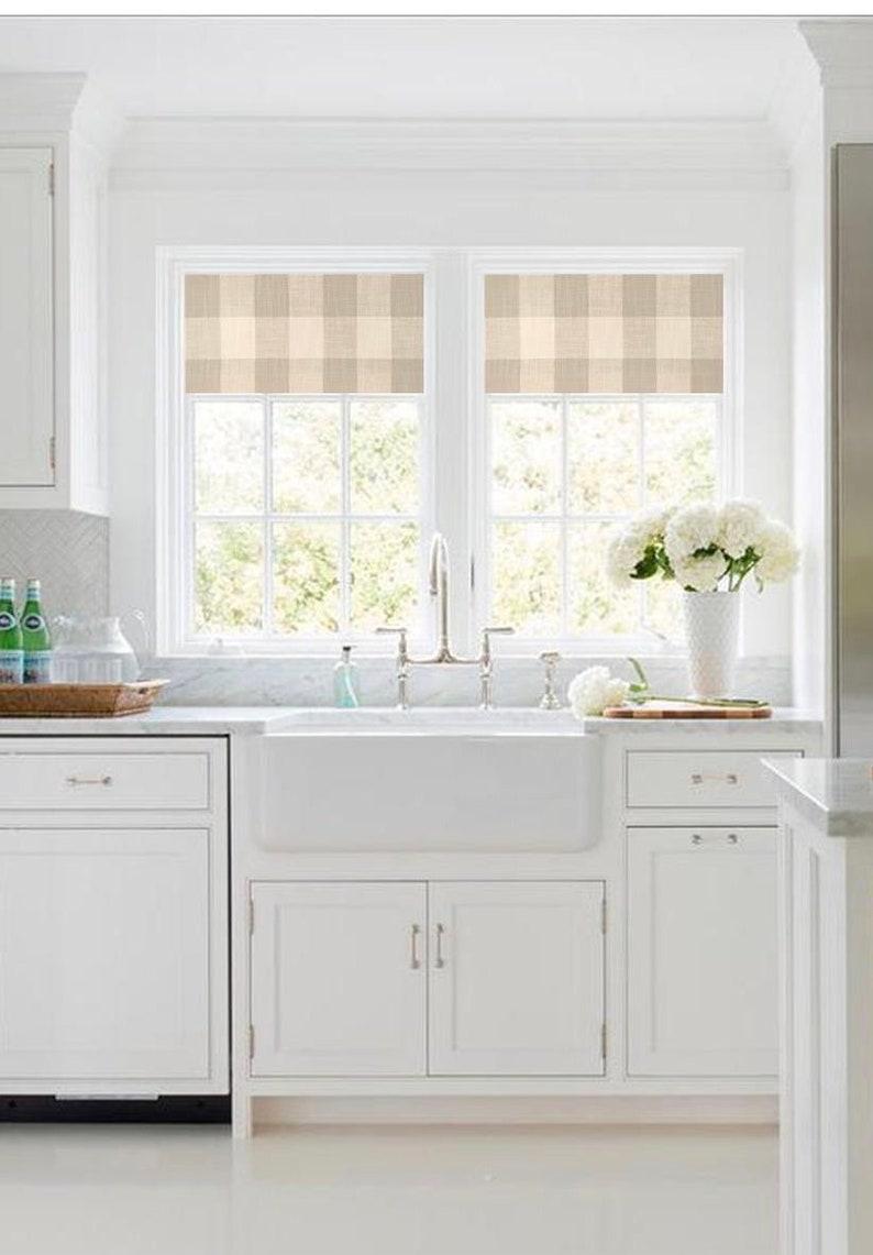 Straight Custom Valance In Grey And White Buffalo Plaid Cotton Slub Fabric Custom Made Fully Lined Modern Farmhouse Kitchen Valance