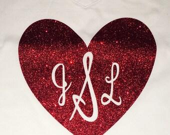 Women's v-neck glitter heart monogram t-shirt