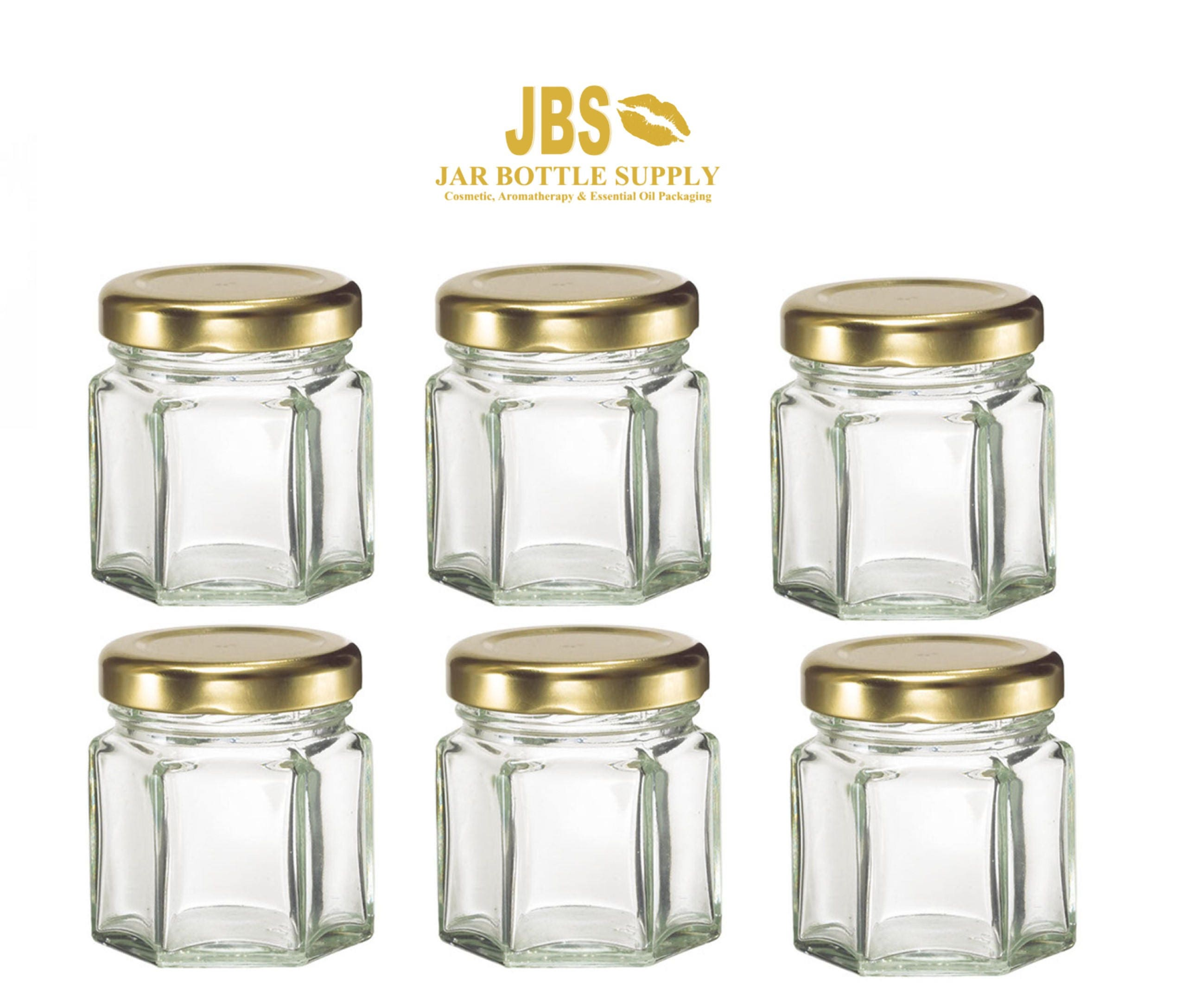 Set of 3 Glass 1.5 oz. Hexagon Jars with Gold Metal Lug Caps MINI ...