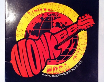 """Vintage """"The  Monkeys 20th Anniversary 1986 WORLD TOUR"""" Concert Program with Davy Jones Autograph, The Monkees 80s Collectible"""