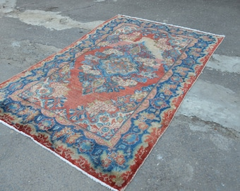 Vintage Persian rug. Blue accent vintage rug. Persian worn rug. Perisan carpet. Free shipping. 6.6 x 4.2 feet.