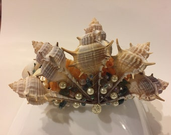 Mermaid beaded shell crown