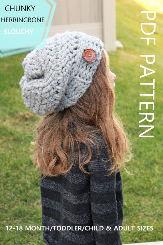 Crochet Pattern The Aspen Slouchy Beanie Herringbone Etsy